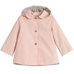 Baby Girls Pink Cotton Coat with Removable Hood, Nanos, Girl