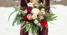 Winter Wedding Bouquets With Reds, Pinks & Burgundies Winter Bridal Bouquets, Rustic Bridal Bouquets, Red Bouquet Wedding, Winter Bouquet, Bride Bouquets, Bridal Flowers, Poppy, Winter Weddings, Bloom
