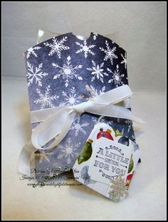 """Stampin' Up!  Square Pillowbox Thinlet die set, A Little Something, Season of Cheer DSP, Whisper White 1/4"""" cotton ribbon, Silver Glimmer paper"""