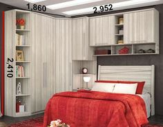 Modelos-guarda-roupas-quarto-pequeno-casal Easy Home Decor, Cheap Home Decor, Bed With Wardrobe, Small Master Bedroom, Home Hacks, Small Rooms, Interior Design Living Room, Bedroom Decor, House