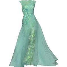 Abed Mahfouz - edited by mlleemilee ❤ liked on Polyvore featuring dresses, gowns, long dresses, green, vestidos, green ball gown, green evening gown, long green evening dress and green evening dresses