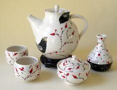 Porcelain Tea Set with Bird and Floral Design