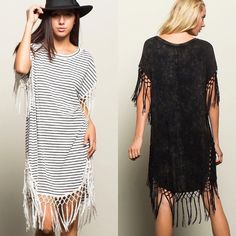 Black and white stripe or distressed black? Lucky for you, we've got both in this fab fringe tunic! #newarrivals #boutique #style #fashion #fringe #trend #tunic #dress #contemporary #womensfashion #shopsmall #shopaholic #fashionista #fairfaxcorner #northernvirginia