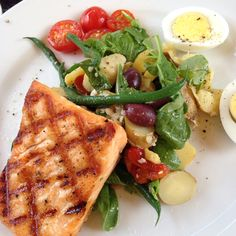 Grilled salmon and a farmers market salad from Worthington House in Columbus OH July 2015