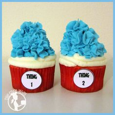 """Dr. Seuss inspired cupcakes made for the Discovery Playhouse's fundraiser! """"Thing 1 and Thing 2"""""""