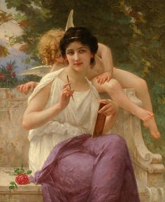 L'Inspiration, Guillaume SEIGNAC He was born in Rennes, France, in 1870, and died in 1924. He started training at the Académie Julian in Paris, where he spent 1889 through 1895. He had a lot of teachers there, including Gabriel Ferrier, and Tony Robert-Fluery.[2] Tony Robert Fluery was a noted history and genre artist. Gabriel Farrel, on the other hand, had been an awarded Prix de Rome. He had another one named William Bouguereau.