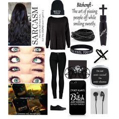 ALL BLACK TAG by wannabefashionguru on Polyvore featuring polyvore fashion style Boohoo 2LUV Vans Kill Star Express Emi Jewellery Happy Plugs Manic Panic