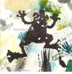 Original Watercolor - Jennifer Love Artwork abstract frog art painting 3.5 x 3.5 Little Speckled Frog 2 ooak SFA EBSQ