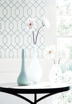 La Farge #wallpaper in Aqua #thibaut