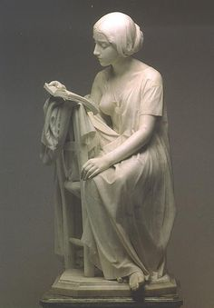 The Reading Girl, by Pietro Magni (1817-1877). #read #girl #Pietro Magni