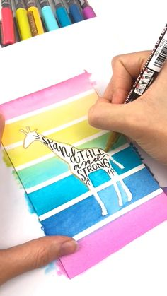 Create beautiful rainbow watercolor backgrounds for your hand lettering using brush pens as watercol Hand Lettering Art, Brush Lettering, Art Drawings Sketches Simple, Easy Drawings, Giraffe Quotes, Art Diy, Watercolour Tutorials, Diy Canvas Art, Pen Art