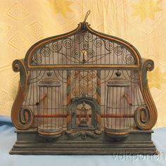 Ornate Antique French Provincial Architectural Wood Metal Bird Cage Hand Made…