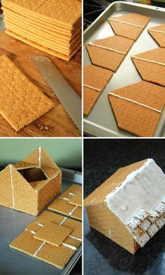 Graham Cracker Gingerbread Houses--love the mini wheats as a snowy roof Graham Cracker House, Graham Cracker Gingerbread House, Gingerbread House Parties, Christmas Gingerbread House, Diy Gingerbread Houses, Gingerbread House Frosting, Homemade Gingerbread House, Christmas Goodies, Christmas Baking