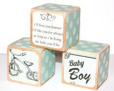 Shabby Chic Baby Blocks - Baby Boy Nursery - I'll Love You Forever - Twinkle Twinkle -  Vintage Nursery - 2 Inch Childrens Blocks