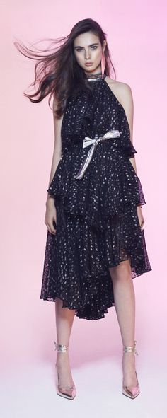 e59ec15cdd6c Black flamingo  Two-pieces flowy black chiffon top and skirt with silver  dots.