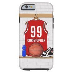 Personalized Red and White Basketball Jersey Tough iPhone 6 Case designed by Giftsbonanza.