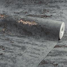 Venice Industrial Metallic Wallpaper Charcoal Copper - Wallpaper from I Love Wallpaper UK Teal Metallic Wallpaper, Black Wallpaper Bedroom, Look Wallpaper, Copper Wallpaper, Industrial Wallpaper, Metallic Paper, Textured Wallpaper, Wall Wallpaper, Copper Dining Room