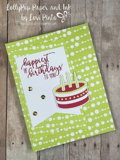 Stampin'Up! Paper Pumpkin June Broadway Star Alternative Birthday Card #loripinto #lollypoppaper