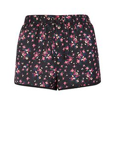 Teens Black Ditsy Floral Shorts  | New Look