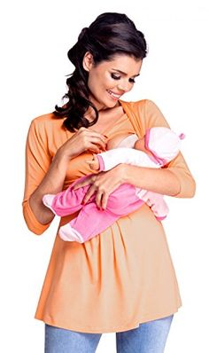 4208cfe568b82 Zeta Ville Womens Maternity Nursing Top Layered Neckline Breastfeeding 945c  Apricot US 1012 2XL     See this great product.Note It is affiliate link to  ...