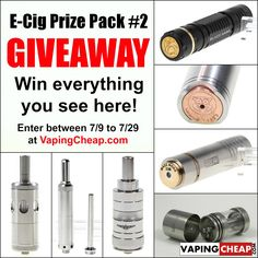 E-Cigarette Giveaway - Prize Package #2 - http://vapingcheap.com/e-cigarette-giveaway-prize-package-2/