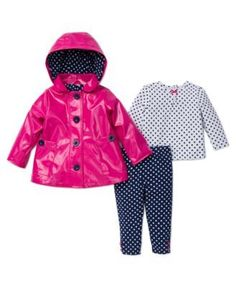 Little Me  3-Piece Rain Jacket Shirt and Pant Set