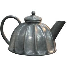 Alice & Eugene Louis Chanal hand-hammer pewter teapot ... dome shape with ridged sides and flat bottom, 1896, France