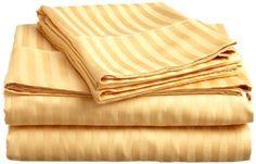 Queen Size Bed Sheet Sets STRIPED 4PC High Thread Count ELAINE KAREN GOLD NEW #ELAINEKAREN