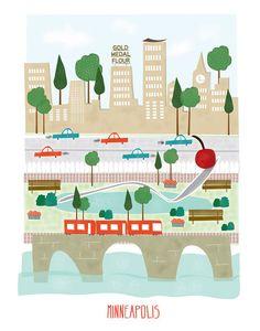Minneapolis  impresión 11 x 14  arte de la guardería ciudad
