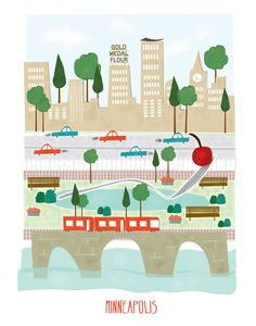 Minneapolis  11x14 print  city illustration by confettielove