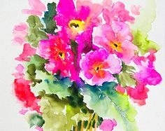 Hell rosa Primeln, Original Aquarellzeichnung, 12 X 9 in Aquarell Blumen, Rosa Wandkunst, Pink, grün