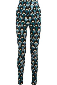 Marni - Cotton-blend Jacquard-knit Leggings - Teal - IT46