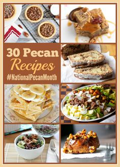April is National Pecan Month! Who knew!?? Here are 30 AMAZING pecan recipes to tempt you! http://www.musingsofahousewife.com/2014/04/30-pecan-recipes-for-national-pecan-month.html?utm_campaign=coschedule&utm_source=pinterest&utm_medium=Jo-Lynne%20Shane%20(Good%20Eats)&utm_content=30%20Pecan%20Recipes%20for%20National%20Pecan%20Month