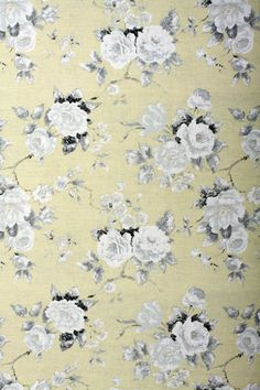 "Emmeline ~ Annie Sloan (Fabric)  ""A beautiful soft looking fabric printed on a pronounced woven fabric, with large old roses all over it. Available in grey and yellow. Perfect for upholstery, curtains and blinds."""