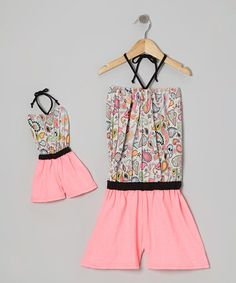 Take a look at this Neon Pink Paisley Romper & Doll Outfit by 4EverPrincess on #zulily today!