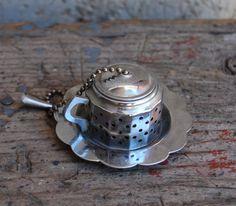 RESERVED    Tea Strainer Vintage Tea Ball Teapot Stainless Steel Patina