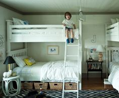 In case we decide to add another set of bunk beds, here is an idea or accessorizing.   source: Ashley Putnam