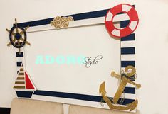 Nautical photo booth frame / custom photo booth frame navy - Nautical Baby Names - Ideas of Nautical Baby Names - Excited to share this item from my shop: Nautical photo booth frame / custom photo booth frame navy Nautical Photo Booth, Nautical Party, Vintage Nautical, Party Photo Frame, Photo Booth Frame, Baby Shower Photo Booth, Baby Boy Shower, Calin Gif, Cruise Theme Parties