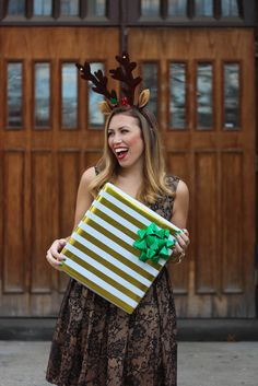 Black & Gold Lace Holiday Dress   Reindeer Ears   Christmas Presents