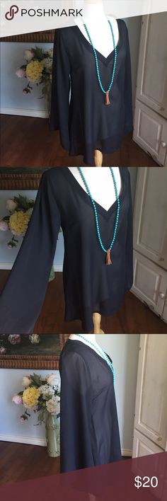 "Sheer black bohemian tunic Put a cami under, wear a necklace from KatieBeth Jewelry and white shorts and look amazing!!    Mumu Size medium   Gorgeous bohemian style sheet black tunic.   Bust 19"" Waist 18"" Length 30"" Show Me Your MuMu Tops Tunics"