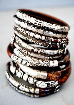 silver & wood bangle stack
