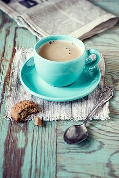 Cappuccino in the ubiquitous turquoise cup and saucer But First Coffee, I Love Coffee, My Coffee, Coffee Cups, Tea Cups, Coffee Maker, White Coffee, Sweet Coffee, Coffee Cup Photo