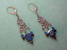 """Artbeader """"Prazsong"""" made these earrings using our JBB copper chandeliers! What wonderful colors. Beaded Earrings, Earrings Handmade, Drop Earrings, Ring Chandelier, Chandeliers, Antique Copper, Brass, Copper Color, Copper Jewelry"""