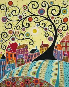 karla gerard artist | ... And A Swirl Tree Painting - Houses And A Swirl Tree Fine Art Print