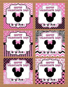 Personalized Minnie Mouse Valentine Class Cards for by susanefird