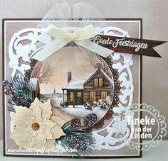Tineke's kaartenhoekje Cosy Christmas, Christmas Tag, Christmas Projects, Handmade Christmas, Scrapbook Christmas Cards, Christmas Cards 2017, Christmas Themes, 100th Birthday Card, Poinsettia Cards