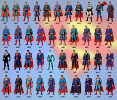 Over the years the man of steel has gone through many stages. This shows the evolution of superman from 1938 - 2011.