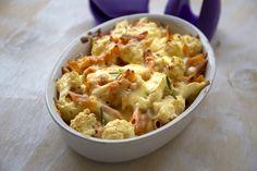 Karfiolos penne tejszínes, fokhagymás szószban sütve, kétféle sajttal Penne, Pasta, Potato Salad, Tapas, Macaroni And Cheese, Casserole, Potatoes, Ethnic Recipes, Food