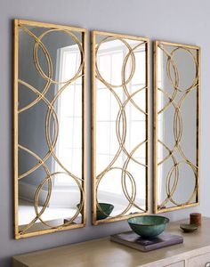Arteriors Home Decor - SALE ITEMS: Impressive mirror with a gold-leafed iron frame that extends into an overlay of geometric shapes. Each mirror, 18 Gold Circle Mirror, West Elm Desk, Hall Mirrors, Mirror Mirror, Floor Mirrors, Traditional Mirrors, Mirrored Furniture, Home Accents, Wall Decor