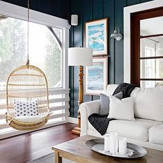 Design direction: Option for a study (room by front door) with a serene Wow factor White sofa, swing, add textured jute book shelves and books, beautiful coastal treasures. Slow weekend mornings at home. #regram via @scoutedhome featuring our Hanging Rattan Chair. Photo by @carolinesharpnack. #serenaandlily #livingroomdecor (Tap to shop) Garage To Living Space, Living Spaces, Living Rooms, Felder, Living Room Inspiration, Hanging Chair, Rattan, Living Room Decor, Family Room